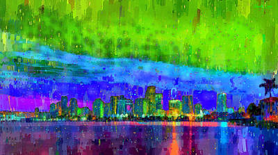 Day Painting - Miami Skyline 112 - Pa by Leonardo Digenio