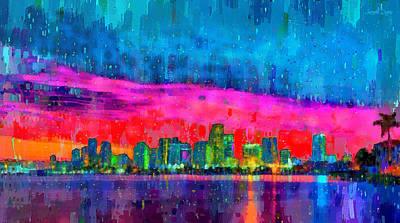 Architecture Painting - Miami Skyline 114 - Pa by Leonardo Digenio