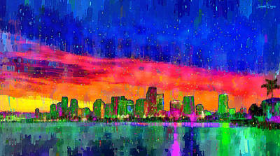 Abstract Beach Landscape Digital Art - Miami Skyline 115 - Da by Leonardo Digenio
