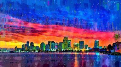 Landmarks Painting Royalty Free Images - Miami Skyline 120 - PA Royalty-Free Image by Leonardo Digenio