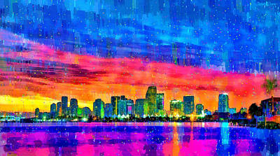 Miami Painting - Miami Skyline 140 - Pa by Leonardo Digenio