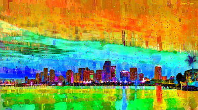 Scenes Painting - Miami Skyline 141 - Pa by Leonardo Digenio