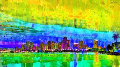 Scenery Digital Art - Miami Skyline 142 - Da by Leonardo Digenio