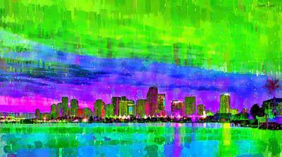 Old Digital Art - Miami Skyline 143 - Da by Leonardo Digenio