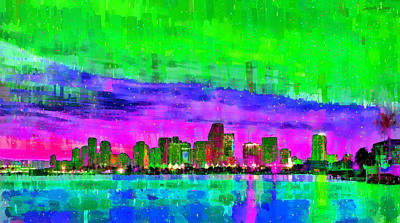Florida Digital Art - Miami Skyline 144 - Da by Leonardo Digenio