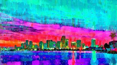 Palm Tree Digital Art - Miami Skyline 145 - Da by Leonardo Digenio
