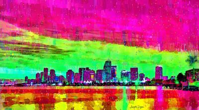 Waters Digital Art - Miami Skyline 147 - Da by Leonardo Digenio