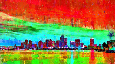 Travel Painting - Miami Skyline 148 - Pa by Leonardo Digenio