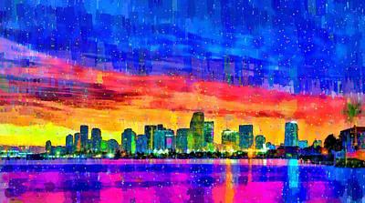 Town Digital Art - Miami Skyline 149 - Da by Leonardo Digenio