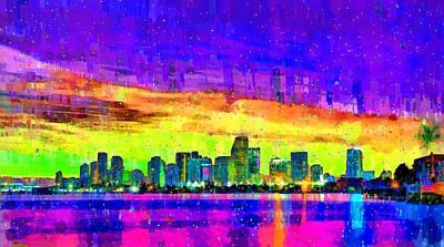 Palm Tree Painting - Miami Skyline 150 - Pa by Leonardo Digenio