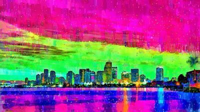 Palm Tree Digital Art - Miami Skyline 151 - Da by Leonardo Digenio