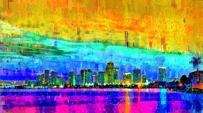 Palm Painting - Miami Skyline 152 - Da by Leonardo Digenio