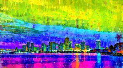 Free Style Painting - Miami Skyline 153 - Pa by Leonardo Digenio