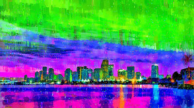 Miami Beach Painting - Miami Skyline 154 - Pa by Leonardo Digenio