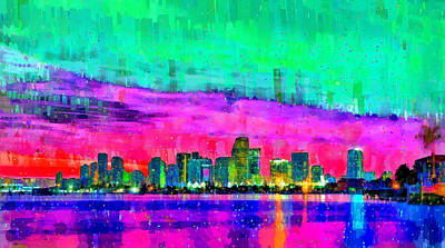 Reflection Painting - Miami Skyline 155 - Pa by Leonardo Digenio