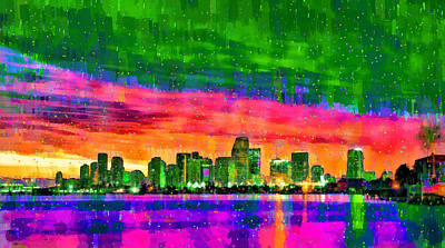 Days Painting - Miami Skyline 156 - Pa by Leonardo Digenio