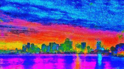 Lit Digital Art - Miami Skyline 160 - Da by Leonardo Digenio