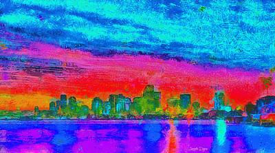 Built Painting - Miami Skyline 161 - Pa by Leonardo Digenio