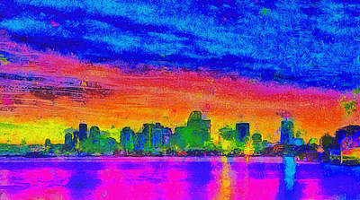 Miami Skyline 162 - Da Art Print by Leonardo Digenio