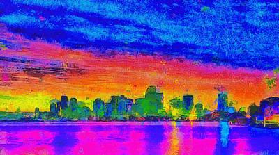 Abstracts Painting - Miami Skyline 162 - Pa by Leonardo Digenio