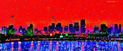 Oceans Painting - Miami Skyline 20 - Pa by Leonardo Digenio