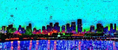 House Digital Art - Miami Skyline 21 - Da by Leonardo Digenio