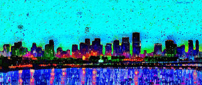 Nightlife Digital Art - Miami Skyline 21 - Da by Leonardo Digenio