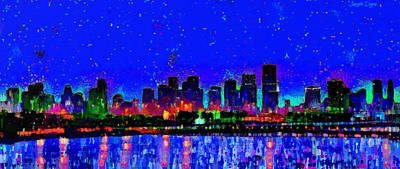Landmarks Painting Royalty Free Images - Miami Skyline 22 - PA Royalty-Free Image by Leonardo Digenio