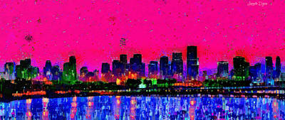 Panoramic Painting - Miami Skyline 23 - Pa by Leonardo Digenio