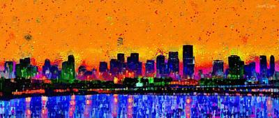 Marina Digital Art - Miami Skyline 24 - Da by Leonardo Digenio