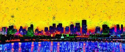 U.s Painting - Miami Skyline 25 - Pa by Leonardo Digenio
