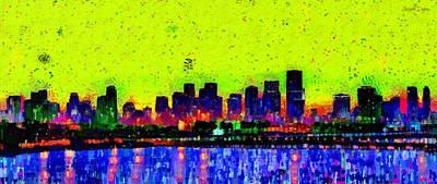 Miami Beach Painting - Miami Skyline 26 - Pa by Leonardo Digenio