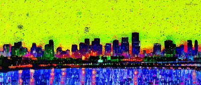Abstracts Painting - Miami Skyline 26 - Pa by Leonardo Digenio