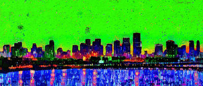 Panoramic Digital Art - Miami Skyline 27 - Da by Leonardo Digenio