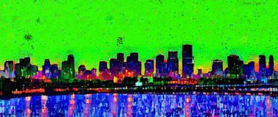 Dusk Painting - Miami Skyline 27 - Pa by Leonardo Digenio