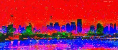 Expressive Digital Art - Miami Skyline 30 - Da by Leonardo Digenio