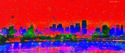 United States Of America Painting - Miami Skyline 30 - Pa by Leonardo Digenio