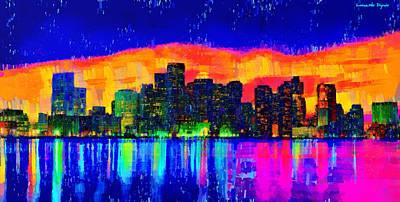 Expressive Digital Art - Miami Skyline 50 - Da by Leonardo Digenio