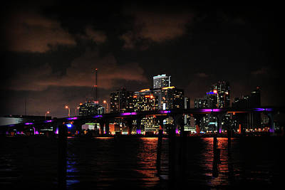 Photograph - Miami Skyline At Night by Amanda Vouglas