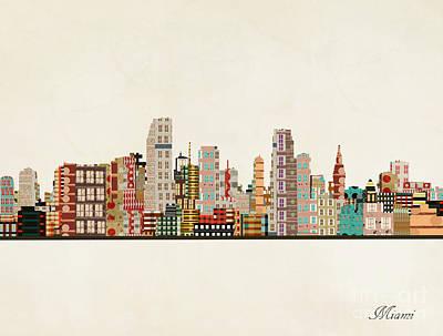 Miami Skyline Wall Art - Painting - Miami Skyline by Bri Buckley
