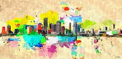 Mixed Media - Miami Skyline by Daniel Janda