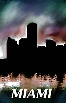Miami Skyline Mixed Media - Miami Skyline Dusk  by Enki Art