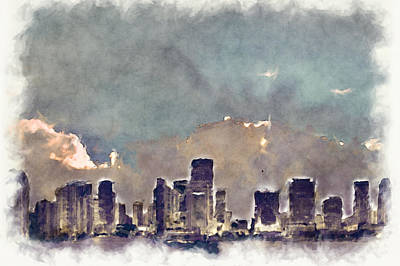 Digital Art - Miami Skyline I I by Paulette B Wright