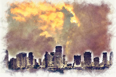 Digital Art - Miami Skyline I by Paulette B Wright
