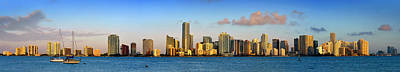 Miami Skyline In Morning Daytime Panorama Art Print by Jon Holiday