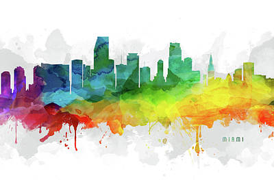 Florida Digital Art - Miami Skyline Mmr-usflmi05 by Aged Pixel