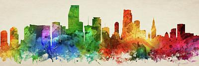 Miami Skyline Wall Art - Digital Art - Miami Skyline Panorama Usflmi-pa03 by Aged Pixel