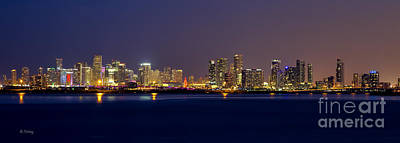 Photograph - Miami Skyline Panoramic On A Still And Cloudless Night by Rene Triay Photography