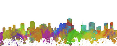 Abstract Skyline Digital Art Rights Managed Images - Miami Skyline Silhouette I Royalty-Free Image by Ricky Barnard