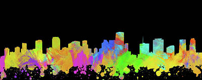 Abstract Skyline Digital Art Rights Managed Images - Miami Skyline Silhouette II Royalty-Free Image by Ricky Barnard